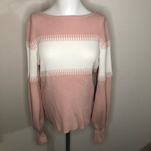Vince Camuto Pink & White Long Sleeve Sweater